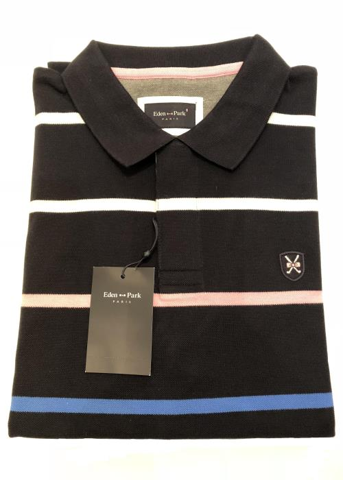 Striped Golf Polo Shirt (Navy)