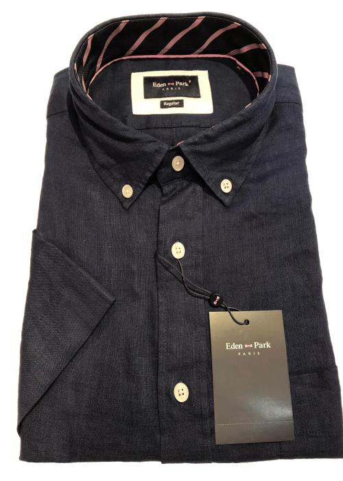 Linen Short Sleeve Shirt (Navy)