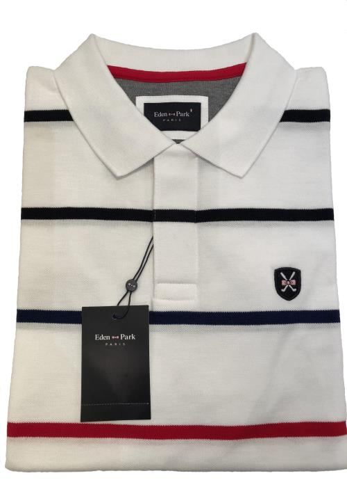 Striped Golf Polo Shirt (White)