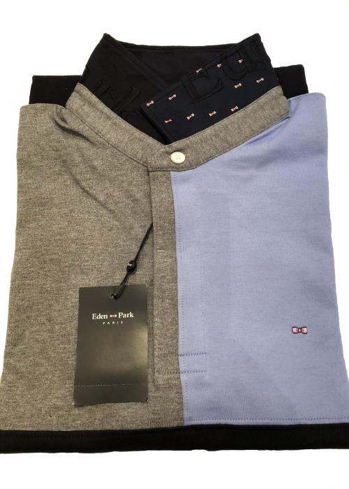 Panel Jersey Style Polo Shirt (Navy/Grey/Sky)