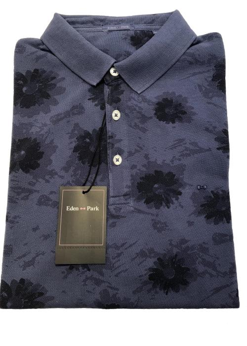 Floral Design Polo Shirt (Denim Blue)