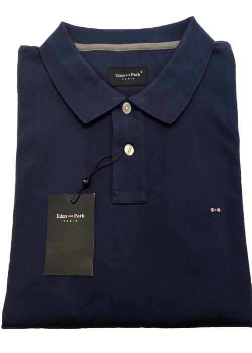 Plain Long Sleeve Polo Shirt (Dark Blue)