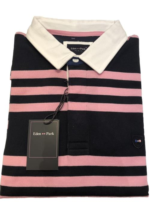 Long Sleeve Striped Rugby Jersey (Navy/Pink)