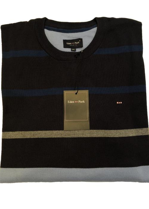 Striped Crew Neck Sweater (Navy/Sky/Grey)