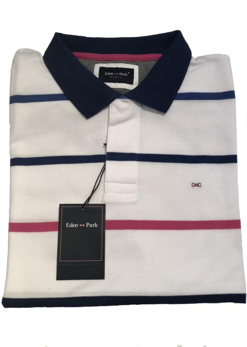 Striped Pique Polo Shirt (White/Blue/Pink)
