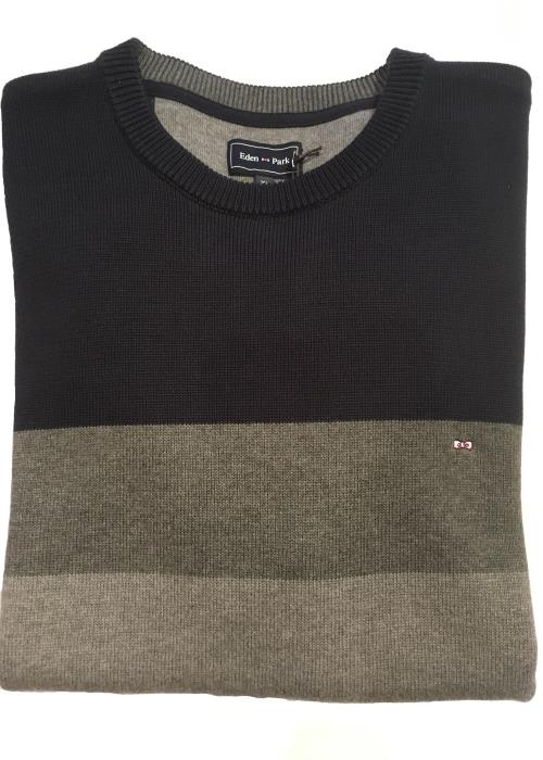Block Striped Crew Neck Sweater (Navy/Grey)