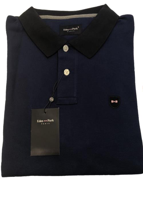 Long Sleeve Polo Shirt With Contrast Collar (Dark Blue)