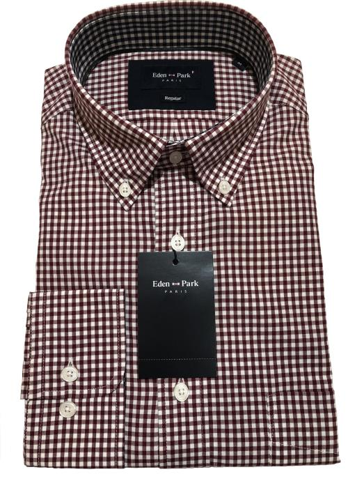 Classic Long Sleeve Gingham Check Shirt (Wine/White)