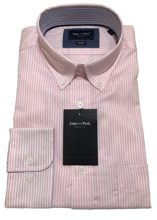 Classic Long Sleeve Striped Shirt (Pink)