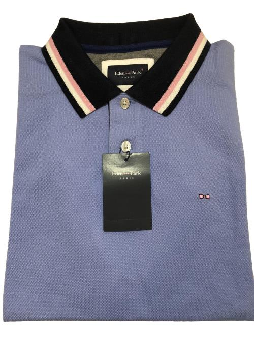 Pique Polo - Back Detail (Sky)