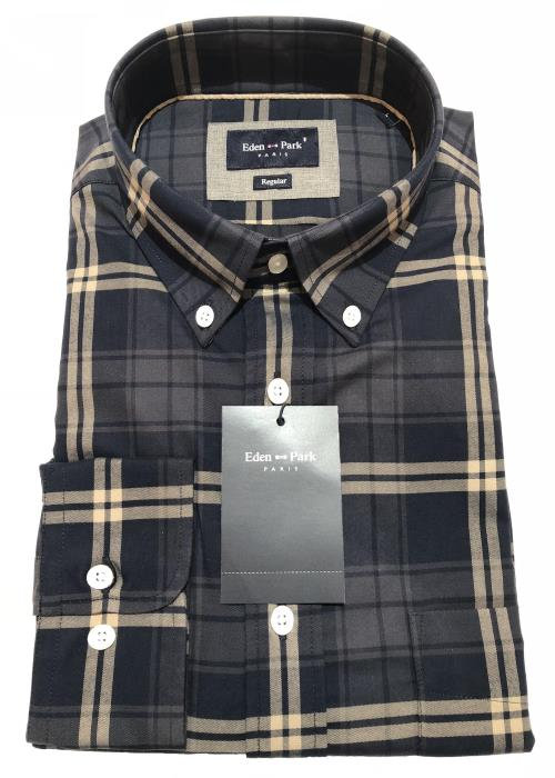 Long Sleeve Check Shirt (Navy/Stone)