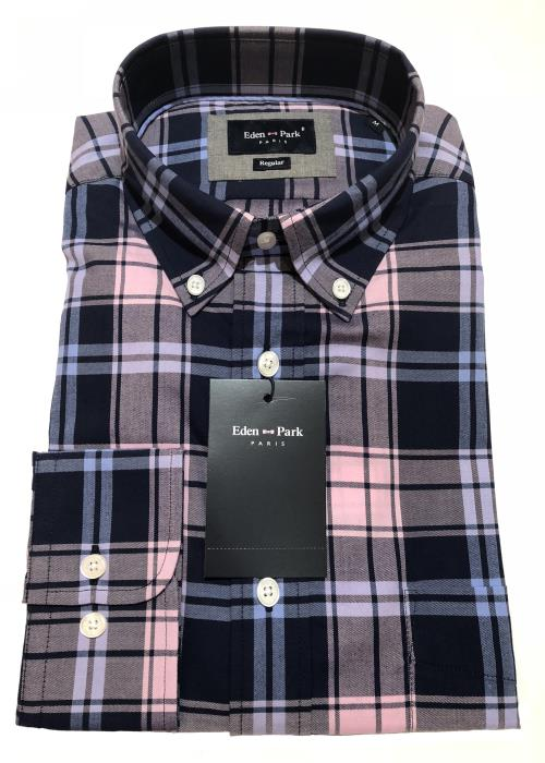 Long Sleeve Check Shirt (Navy/Sky/Pink)