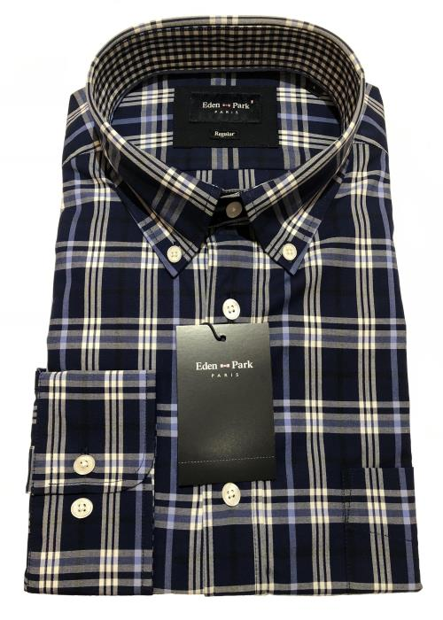 Long Sleeve Check Shirt (Navy/Sky/White)