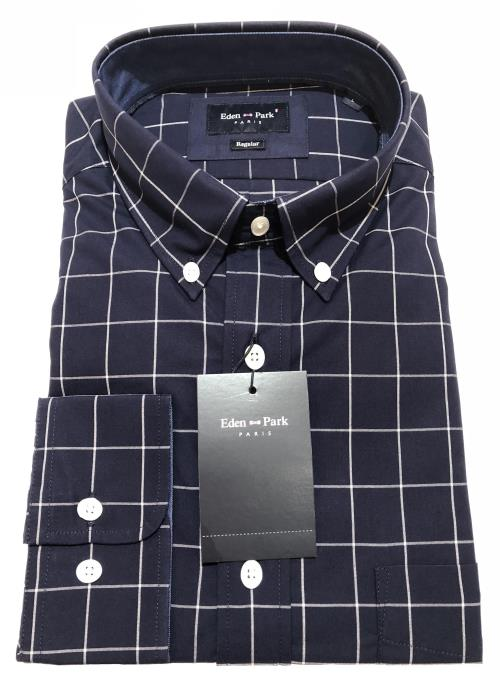 Long Sleeve Check Shirt (Navy/White)