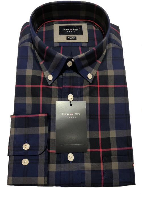 Long Sleeve Check Shirt (Royal/Navy/Red)