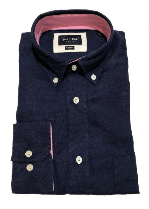 Long Sleeve Linen Shirt (Navy)