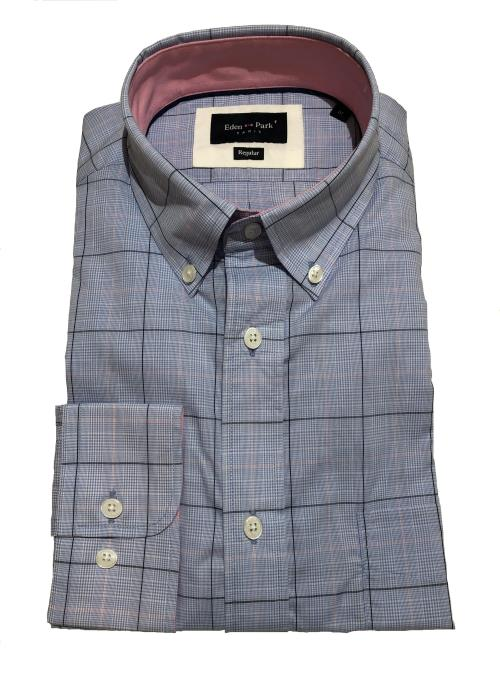 Prince of Wales Check Long Sleeve Shirt (Sky/Pink)