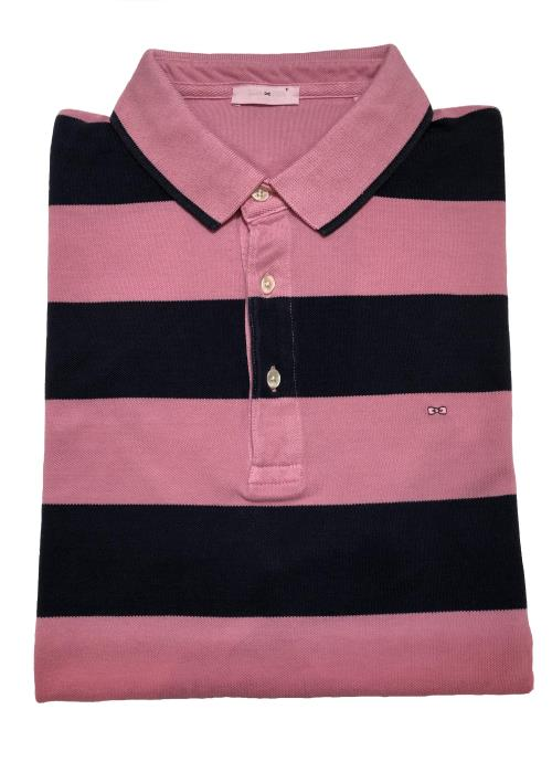 Graduating Stripe Polo Shirt (Pink)