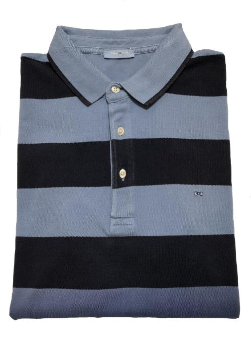 Graduating Stripe Polo Shirt (Navy/Blue)