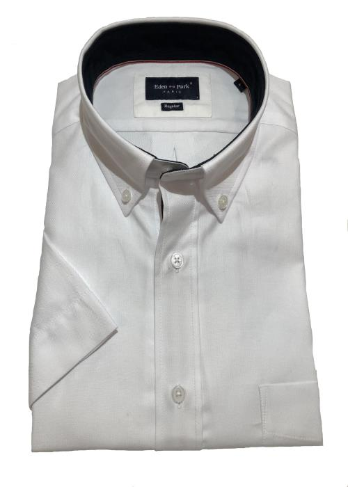 Textured Plain Short Sleeve Shirt (White)