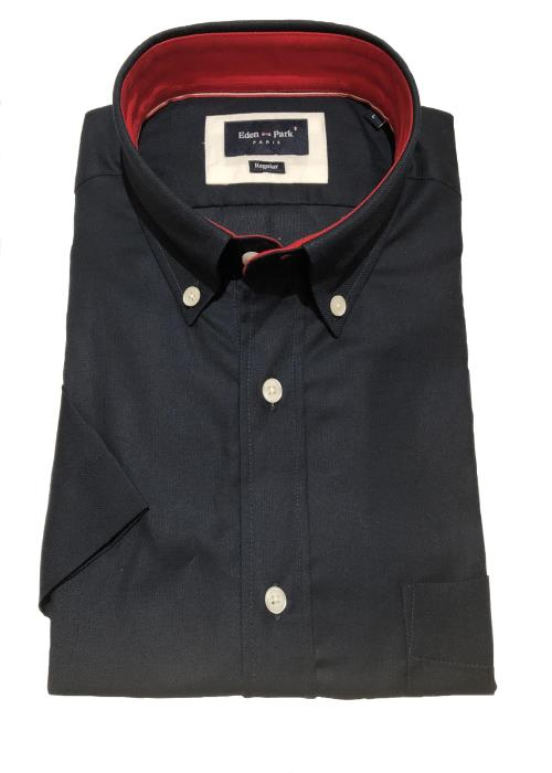 Textured Plain Short Sleeve Shirt (Navy)