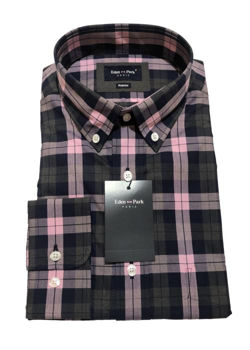 Long Sleeve Bold Check Shirt (Pink/Navy/Charcoal)