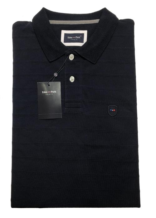 Long Sleeve Ribbed Polo (Navy)