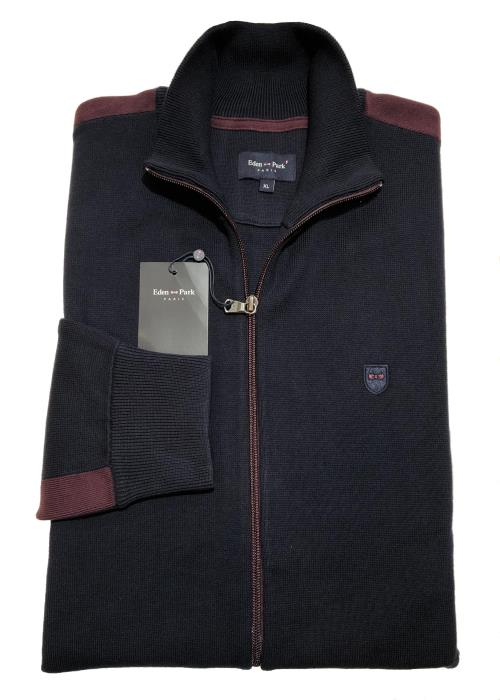 Full Zip Contrast Cardigan (Navy/Burgundy)