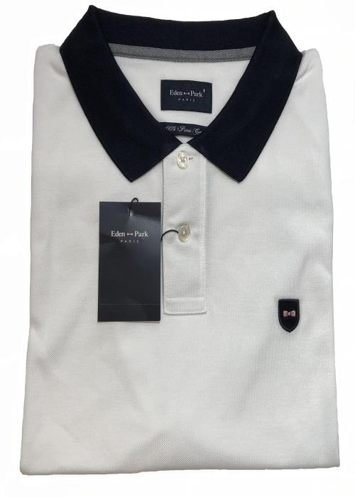 Plain Contrast Collar Polo (White/Navy)
