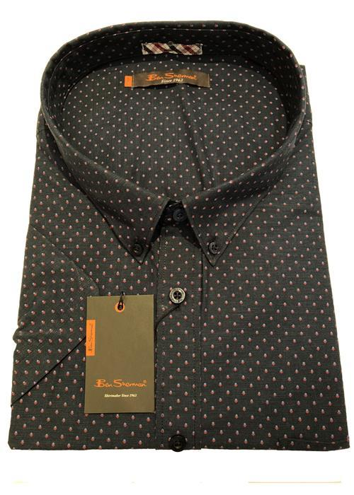 Ben Sherman SHORT SLEEVE PRINTED NEAT PATTERN (DARK BLUE)