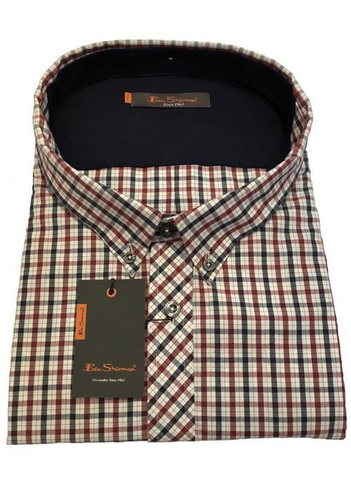 Ben Sherman NEW HOUSE SHORT SLEEVE CHECK (WINE/NAVY)