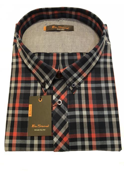 Ben Sherman SHORT SLEEVE MULTI CHECK (NAVY/RED)
