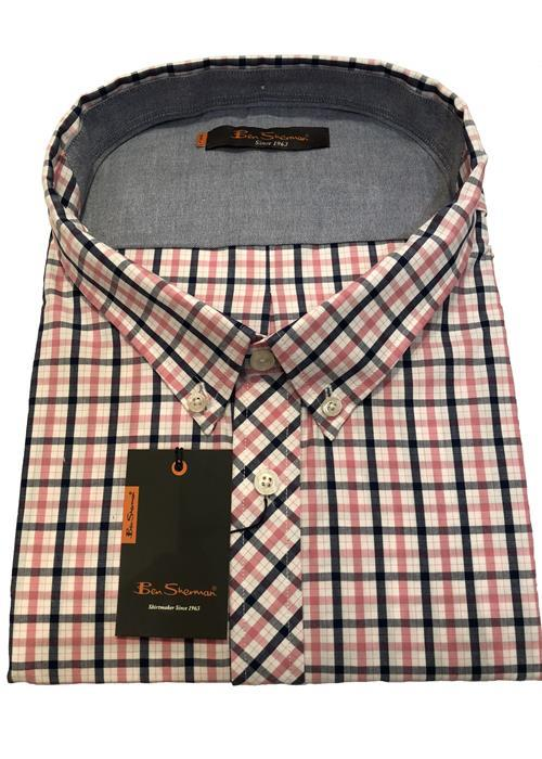 Ben Sherman NEW HOUSE SHORT SLEEVE CHECK (PINK/NAVY)