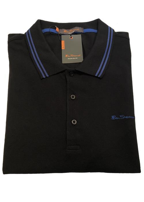 Ben Sherman TIPPED POLO SHIRT (BLACK/ROYAL)