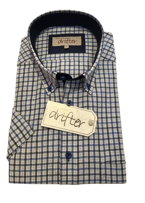 Douglas SHORT SLEEVE LINEN EFFECT CHECK (BLUE)