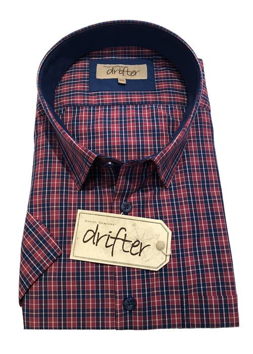 Douglas SHORT SLEEVE NEAT CHECK SHIRT (FUCHSIA)