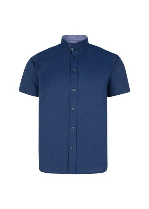 KAM GRANDAD COLLAR SHIRT (DARK BLUE)
