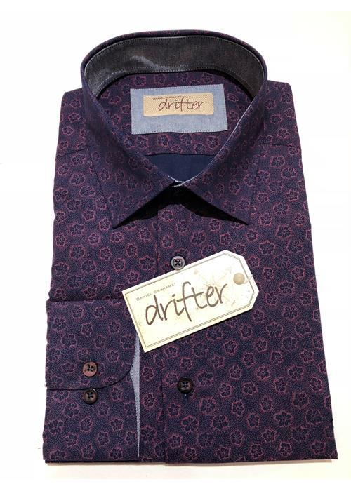 Douglas LONG SLEEVE PATTERN SHIRT (PLUM)