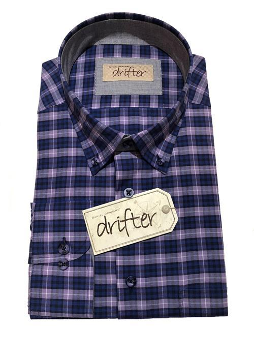 Douglas LONG SLEEVE BOLD CHECK SHIRT (PURPLE)