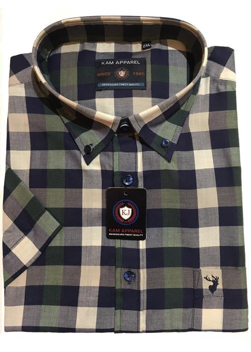 KAM Short Sleeve Bold Check Shirt (Forest)