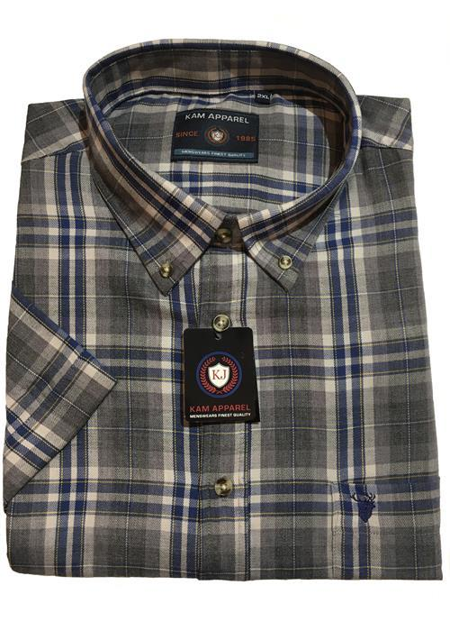 KAM Short Sleeve Check Shirt (Stone)