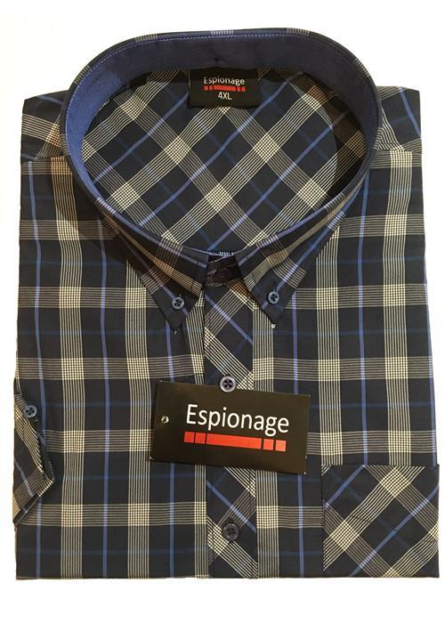 Espionage Short Sleeve Check Shirt (Navy)