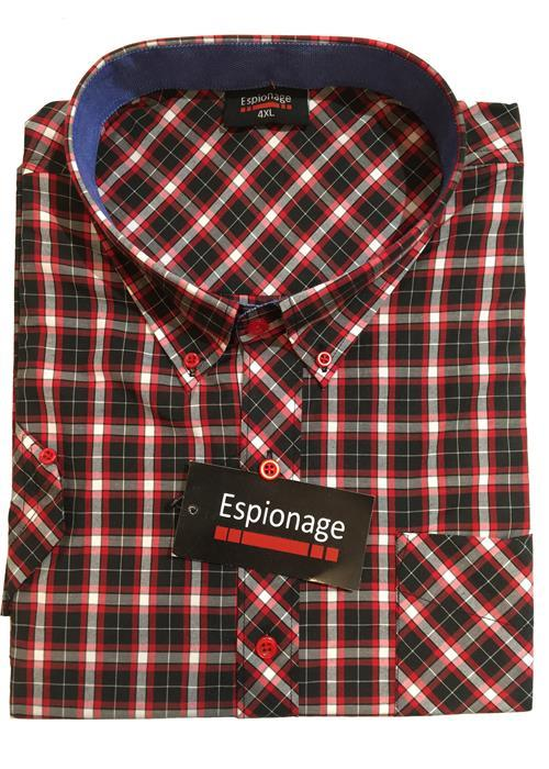 Espionage Short Sleeve Check (Navy/Red)