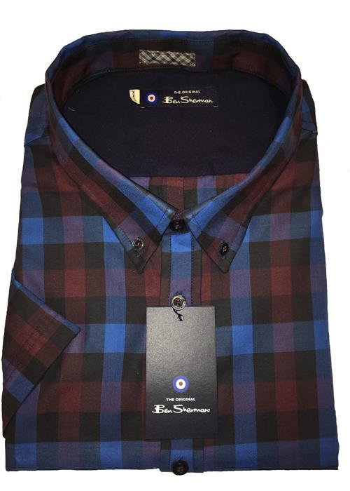 Ben Sherman Short Sleeve Bold Check (Royal/Burgundy)