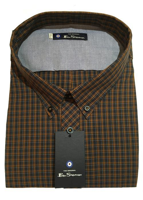 Ben Sherman Long Sleeve Neat Check Shirt (Dark Mustard)