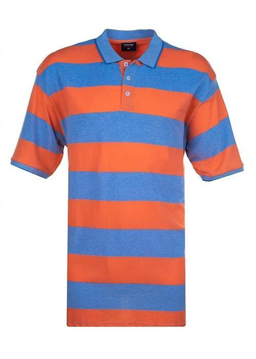 Espionage Striped Pique Polo Shirt (Light Blue/Orange)