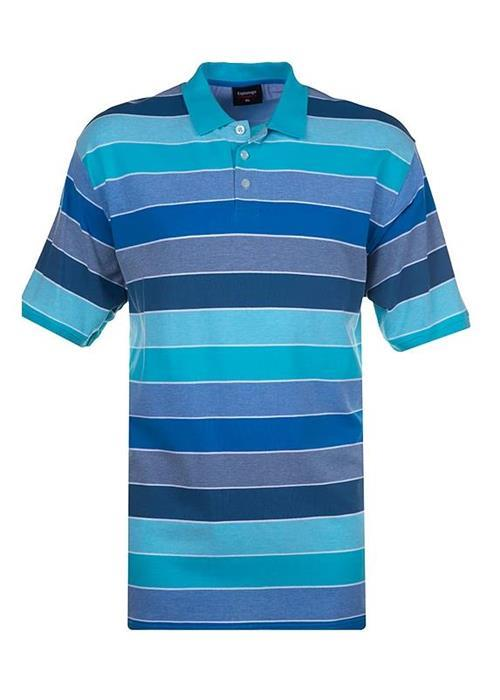 Espionage Striped Pique Polo Shirt (Turquoise)