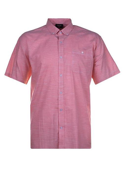 Espionage Short Sleeve Linen Effect Shirt (Salmon)