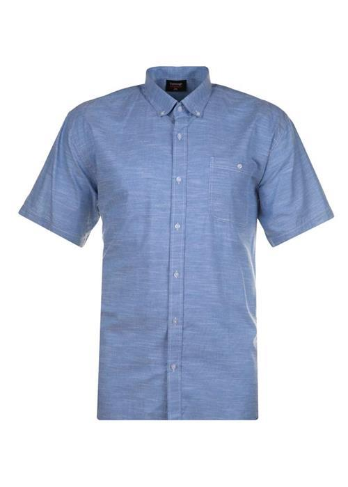 Espionage Short Sleeve Linen Effect Shirt (Light Blue)
