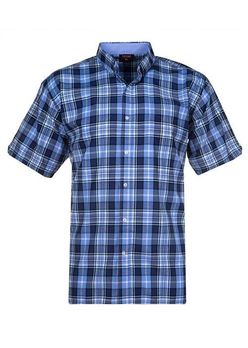Espionage Short Sleeve Multi Check Shirt (Navy/Light Blue)